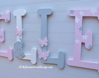 Painted Wall Letters, Baby Girl Nursery, Butterfly, Elephant, Gray & Pink Wood Letters, Custom Wall Letters, Nursery Letters