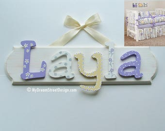 Baby Name Sign, Nursery Wall Plaque, Baby Girl Name Sign, Nursery Wall Letters, Baby Name Letters, Lavender, White, Gray, Yellow