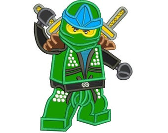 Lego Green Ninja Applique Design 3 sizes instant download
