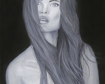 Black and white original acrylic portrait painting of woman