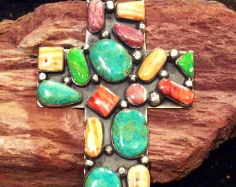 Native American Jewelry Vintage Turquoise, Orange Spiny Oyster, Purple Spiny Oyster Cluster Cross Hallmarked