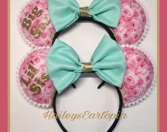 Big Sis Lil Sis Matching Mouse Ears, set of 2, Sisters, Big Sister Little Sister Mouse Ears Headband