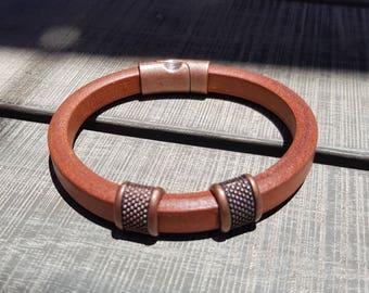 Leather bracelet; Men's bracelet; Tan leather bracelet; Licorice leather bracelet;  Unisex bracelet; Copper bracelet; Magnetic bracelet