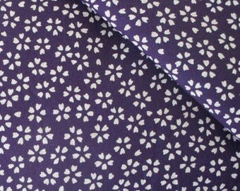 Japanese fabric reversible purple background 50 sakura cherry blossom x 55 cm