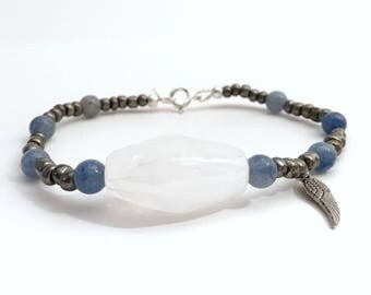 Fly Me to the Moon~ Handmade Beaded Charm Bracelet~White Statement Bead~Silver Seed Beads~Denim Blue Beads~Angel Wing Charm