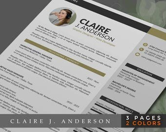 Creative Resume Template /Creative CV Template Instant Download, 2 Page Resume Design with free Cover Letter, Easy to edit for PC and Mac