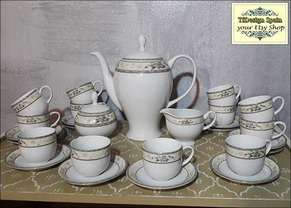 Porcelain coffee service, Porcelain coffee set for 12, Porcelain coffee pot set, White porcelain coffee cups, Silesian porcelain coffee set