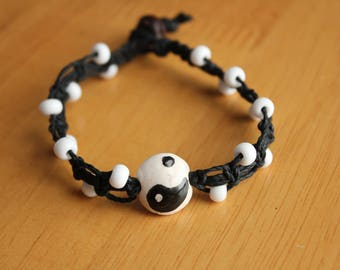 Black & White Hemp Bracelet with Clay Yin Yang Bead - Unique Yin-Yang Macrame Bracelet - Comfortable, Casual Jewelry for Him or Her
