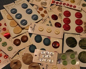 Vintage Buttons ~ On Cards ~ New Old Stock ~ Variety of Brands ~ Multitude of Colors and Textures ~ Stylish ~ Fabric Buttons ~ Crafting ~