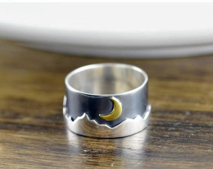 10% off SALE Sterling Silver Mountain Ring - Mountain Ring - Nature Jewelry - Mountains Jewelry - Forest Ring - Wilderness Ring - Mountain C