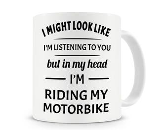 In My Head I'm Riding My Motorbike Mug, Funny Coffee Mug, Riding My Motorbike Mug, Motorbike Mugs