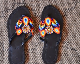 African Maasai Beaded Sandals | Flower Beaded Sandals | Multicolor Sandals |Elegant Sandals | Leather Sandals | Unique Sandals |Gift For Her