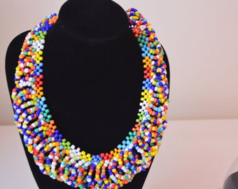 African Maasai Beaded Necklace | Mixed Color  Necklace | African Jewelry | Tribal Necklace |Unique Necklace |One size fits all |Gift for Her