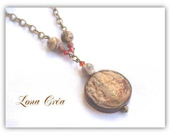 Gemstone Jasper and gold stone, bronze chain and glass Italian necklace
