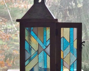 Candle Lantern Stained Glass Mosaic Hanging Light