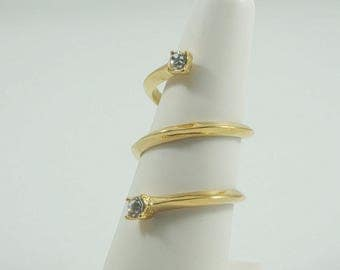Stainless Steel Swirl Gold with Zircon Ring. WHITE