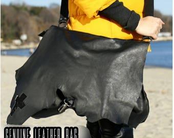BLACK Genuine leather tote bag/extravagant genuin leather tote bag