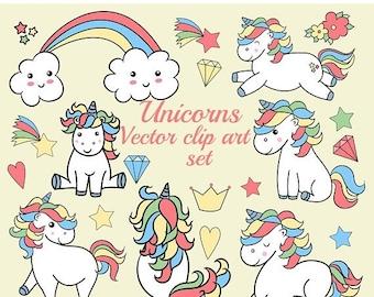 "SALE40% Unicorns clipart: ""KAWAII UNICORNS"" Unicorns Ilustrations,Baby unicorns,Planner clipart,Vector clipart,Sticker graphics,Cute unicorn"