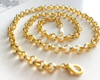 16inch---5pieces 5.0mm antique gold 16inch O shape Rolo necklace chains
