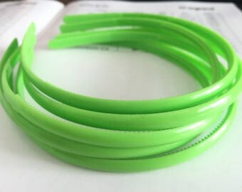 10pieces hot green colors plastic hair headband covered 8mm width wide