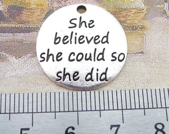 Wholesale 100Pieces /Lot Antique Silver Plated 23mm She believed she could so she did letter word charms