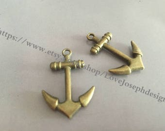 wholesale 100 Pieces /Lot Antique Bronze Plated 20mmx28mm Anchor Charms (#025)
