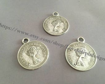 Wholesale 20Pieces /Lot Antique Silver Plated 23mmx19mm Queen Elizabeth The Second word charms (#091)