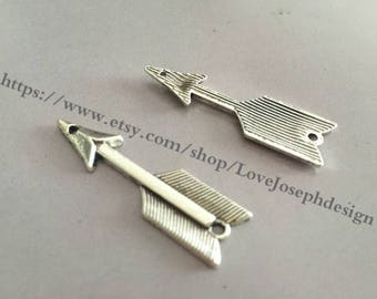 wholesale 100 Pieces /Lot Antique Silver Plated 11mmx39mm arrow charms  (#0110)