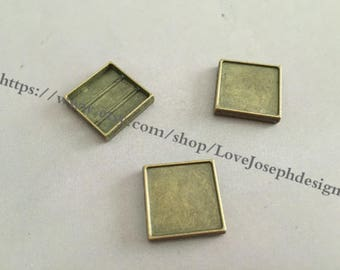 wholesale 100 Pieces /Lot Antique Bropnze Plated 15mm square slide bracelet blanks cabochon bezel trays charms (#0415)