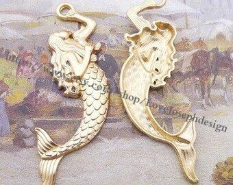 wholesale 50 Pieces /Lot KC gold Plated 78mmx33mm mermaid charms(#0424)