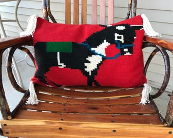 Lumbar donkey pillow cover made from vintage wool runner with handmade cotton tassels