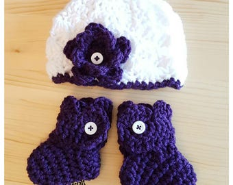 Newborn Hat and Booties Set  Baby Crochet Knit Handmade