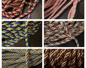 9mm Twisted Satin cord two tone colors satin rope decoration trim braided cord Shiny Cord Choker Thread Twine String/Price per 5 yards