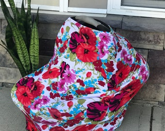 Stretchy car seat cover/nursing cover//Infinity scarf cover//multi-functional cover||Floral nursing cover/ car seat canopy