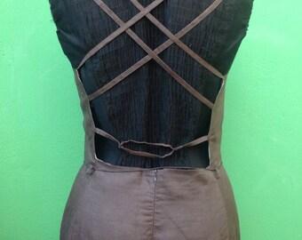 90s Vintage dress. Linen long dress. Vintage dress.