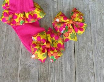 Flower hair bow and sock set, spring hair bows, pinwheel hairbow, Spring ruffled socks, flower socks, colored socks, toddler socks