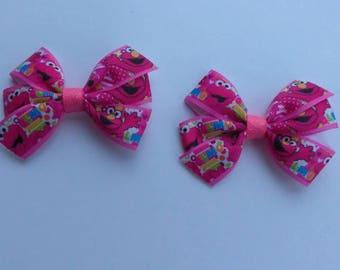 Character hair bow, Pink Elmo bow, character headband, Elmo hair bow, baby hair bow, Sesame Street hair bow, Valentine Elmo