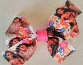 Moana hair bow, Character hair bow, Island hair bow, Moana birthday hair bow, princess hair bow, Moana and Maui pigtail bows