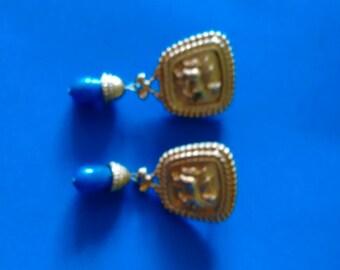 VINTAGE CLIP EARRINGS Avon Jewelry Avon Clip Earrings Kenneth J Lane Clip Earrings Clip Dangle Earring Gold Clip Earring Lapis Clip Earring