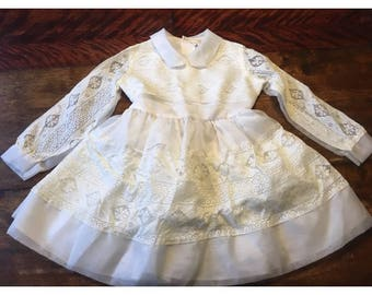 Gorgeous Vintage 1960s / 1970s Little Girls White Puffy Party Dress