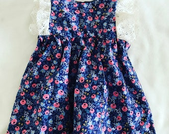 Rosa Floral Navy Dress | Baby Girl