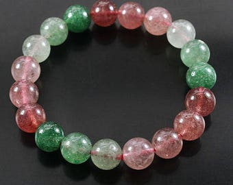 Rutilated Quartz Bead Bracelet Natural Polished Strawberry and Green Gemstone Jewelry CIE51