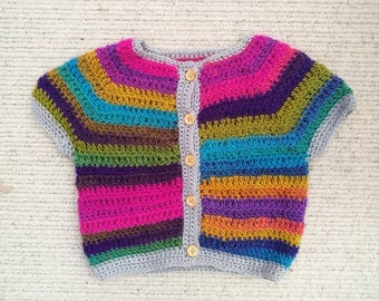 Rainbow Jewels short sleeved cardigan age 2-3