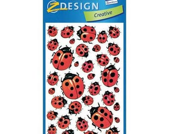 3 sheets of stickers, colored lady bugs scrapbooking stickers