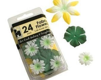 24 3 silk flowers versions green yellow