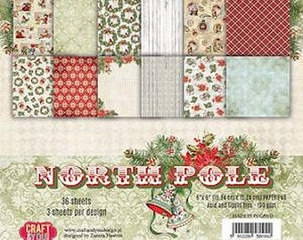 36 papers 15.2 x 15.2 cm CRAFT AND YOU NORTH POLE