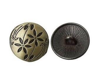 6 buttons round bronze 1.7 cm flower stem