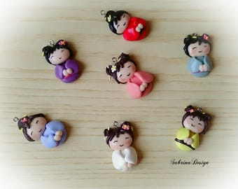 Kokeshi favor, baptism favors,baby shower favors, japan birthday favors, japanese party, kokeshi charms