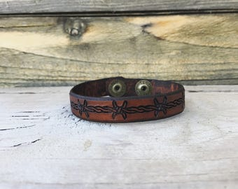 Barbwire Leather Cuff Bracelet