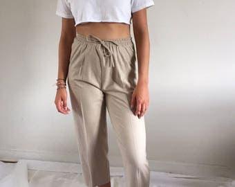Vintagd 90s Minimal Oatmeal Raw Silk High Waisted Drawstring Pants | S/M